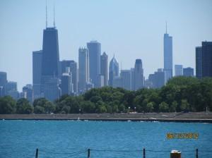 ミシガン湖から見たシカゴダウンタウン