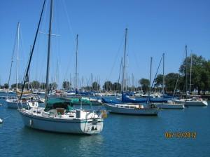 ミシガン湖のボート