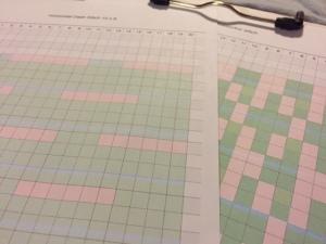 このようにして編みたいパターンを5つくらい用意しました